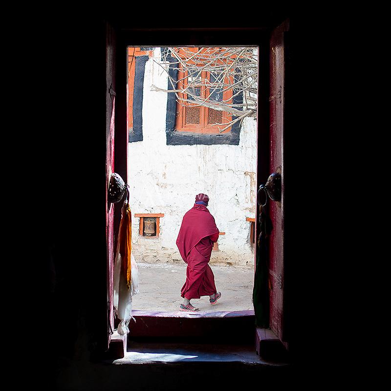 A monk passes through the Hemis Monastery.