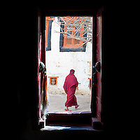A monk passes through the Hemis Monastery.