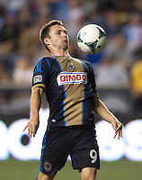 jack McInerney (9) of the Philadelphia Union controls the ball during a Major League Soccer game at PPL Park in Chester, PA.  Philadelphia Union tied the Portland Timbers, 0-0.