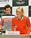 Andrew Garfield and Emma Stone, Jun 13, 2012 : Tokyo, Japan - Andrew Garfield and Emma Stone arrive for a news conference in Tokyo on Wednesday, June 13, 2012. The pair along with director Marc Webb and actor Rhys Ifans was in town to promote a June 23 world premiere of The Amazing Spider-Man.  (Photo by Natsuki Sakai/AFLO)