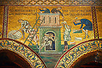 Byzantine mosaics in the Cathedral of Monreale- Building the Tower of Babel  - Palermo - Sicily Pictures, photos, images &amp; fotos photography