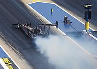 Sep 17, 2016; Concord, NC, USA; NHRA top fuel driver Wayne Newby during qualifying for the Carolina Nationals at zMax Dragway. Mandatory Credit: Mark J. Rebilas-USA TODAY Sports