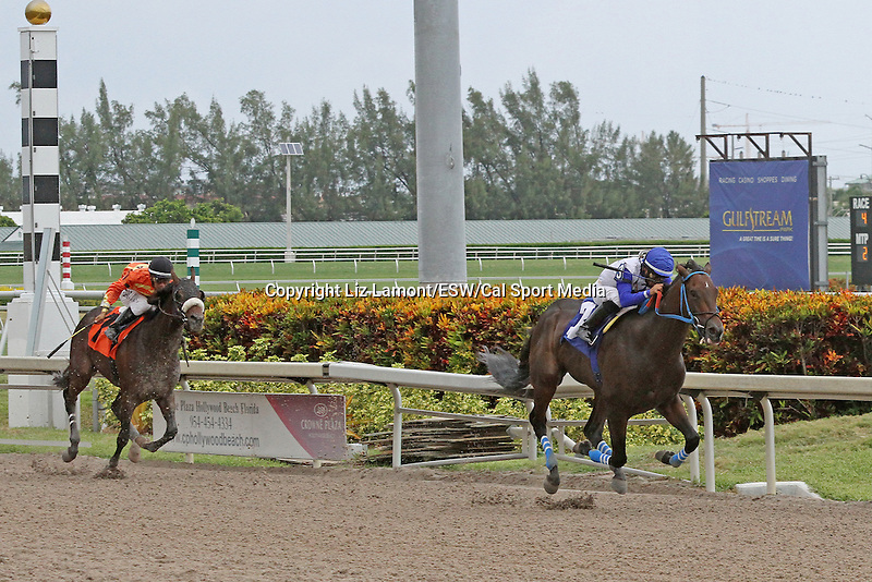 September 06, 2014:  2 year old,  Brown Magic (KY) with jockey Jesus Rios on board, wins his Allowance race at Gulfstream Park in Hallandale Beach FL. Liz Lamont/ESW/CSM
