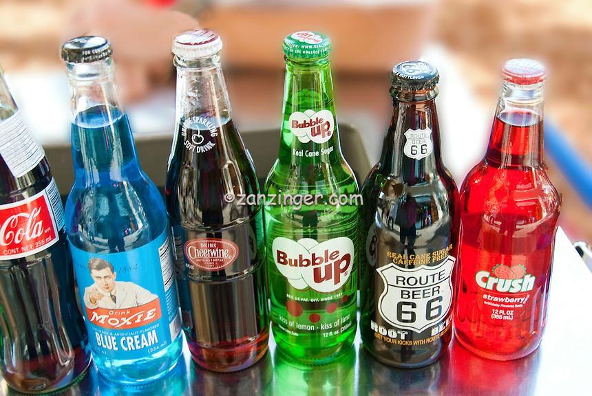 Vintage Soda Bottle Brands, Labels,  Pop and Soft Drinks, 1950's, Crush, Moxie, Bubble up Sodas