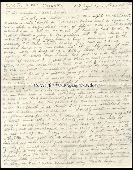 BNPS.co.uk (01202 558833)<br /> Pic: AutographAuctions/BNPS<br /> <br /> Controversial monarch Edward VIII expressed huge doubts about being King a full 17 years before he was crowned, a newly discovered letter has revealed.<br /> <br /> The future monarch, who went on to abdicate the throne after 11 months as King, suffered a major loss of self-confidence about his future during a Royal tour of Canada as Prince of Wales.<br /> <br /> He disclosed his inner-most thoughts in a letter to his mistress Freda Dudley Ward in 1919.