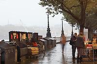 South Bank Book Market, Parisian atmosphere under the Waterloo Bridge, London, UK. Picture by Manuel Cohen