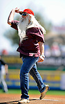 2 March 2011: William Lee Golden of the Oak Ridge Boys throws out the ceremonial first pitch at a Spring Training game between the Florida Marlins and the Washington Nationals at Space Coast Stadium in Viera, Florida. The Nationals defeated the Marlins 8-4 in Grapefruit League action. Mandatory Credit: Ed Wolfstein Photo