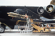 Andersen Air Force Base in Guam, June 1972 - Members of US Airforce load bombs onto B-52 planes in preperation for bombing missions over Vietnam during Operation Arc Light -  Vietnam War