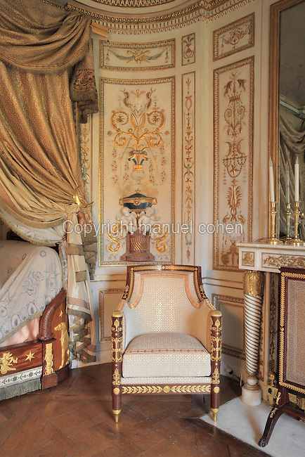 "Turkish Boudoir, redesigned in 1777 for Marie Antoinette, by architect Richard Mique, Chateau de Fontainebleau, France. The decoration is the achievement of the brothers Rousseau, and the furniture dates to the period of the First Empire, with precious textile work done by Jacob-Desmalter for Empress Josephine. Including a small bedroom, mirrors, and curtains raised by pulleys, this exceptional ensemble has been restored in 2014 thanks to the support of INSEAD and the generosity of subscribers of sponsors belonging to the group ""Des Mécènes pour Fontainebleau"". Its opening to the public is schedule for Spring 2015. Picture by Manuel Cohen"