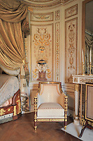 """Turkish Boudoir, redesigned in 1777 for Marie Antoinette, by architect Richard Mique, Chateau de Fontainebleau, France. The decoration is the achievement of the brothers Rousseau, and the furniture dates to the period of the First Empire, with precious textile work done by Jacob-Desmalter for Empress Josephine. Including a small bedroom, mirrors, and curtains raised by pulleys, this exceptional ensemble has been restored in 2014 thanks to the support of INSEAD and the generosity of subscribers of sponsors belonging to the group """"Des Mécènes pour Fontainebleau"""". Its opening to the public is schedule for Spring 2015. Picture by Manuel Cohen"""