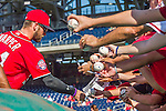 19 September 2015: Washington Nationals outfielder Bryce Harper signs autographs prior to a game against the Miami Marlins at Nationals Park in Washington, DC. The Nationals defeated the Marlins 5-2 in the third game of their 4-game series. Mandatory Credit: Ed Wolfstein Photo *** RAW (NEF) Image File Available ***