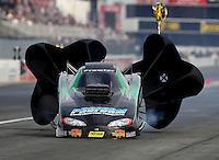 Nov 12, 2016; Pomona, CA, USA; NHRA top alcohol funny car driver Greg Hunter during qualifying for the Auto Club Finals at Auto Club Raceway at Pomona. Mandatory Credit: Mark J. Rebilas-USA TODAY Sports