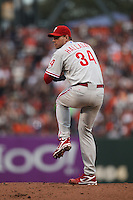 SAN FRANCISCO - OCTOBER 21:  Roy Halladay of the Philadelphia Phillies pitches against the San Francisco Giants during Game 5 of the NLCS at AT&T Park on October 21, 2010 in San Francisco, California. (Photo by Brad Mangin)