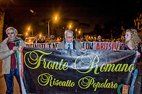 Roma 21 Novembre 2014<br /> Manifestazione contro prostituzione e degrado all' EUR, organizzata dal comitato di quartiere &quot;Ripartiamo dall'Eur&quot; e dall'associazione commercianti della zona. La manifestazione &egrave; stata indetta per chiedere un intervento dalle istituzioni sulla prostituzione e il degrado nel quartiere. Andrea Insabato (L) di Fronte Romano con Mario Borghezio, europarlamentare della Lega Nord.<br /> Rome November 21, 2014<br /> Demonstration against prostitution and degradation in the EUR district, organized by the neighborhood committee, and by the traders in the area The demonstration was called to request assistance from the institutions against prostitution and degradation in the neighborhood. Andrea Insabato (L) Front Romano with  Mario Borghezio, MEP of the northern League.