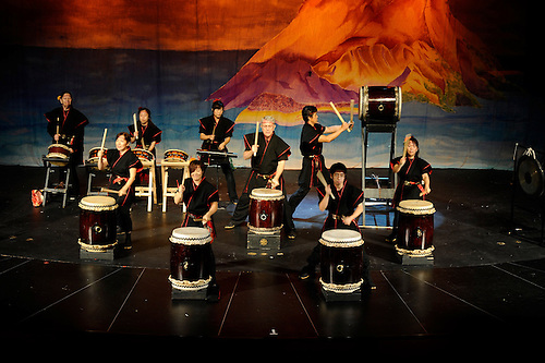 Sakura Taiko, the dynamic Japanese drumming group, performing for at Rye Country Day school.