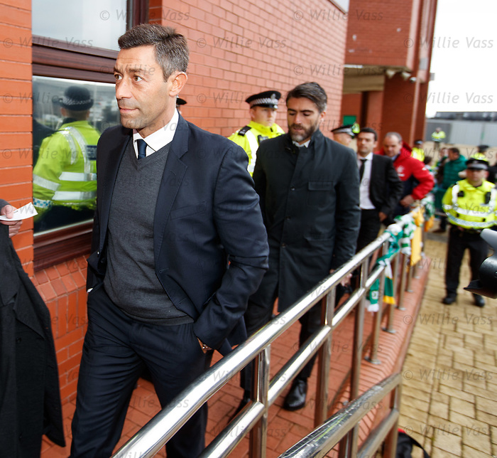 New Rangers manager Pedro Caixinha arrives at Celtic Park with Pedro Mendes