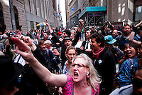 NEW YORK, NY - APRIL 20: Members of Occupy Wall Street gather on front  of Federal Hall during a spring training protest on April 20, 2012 in New York City