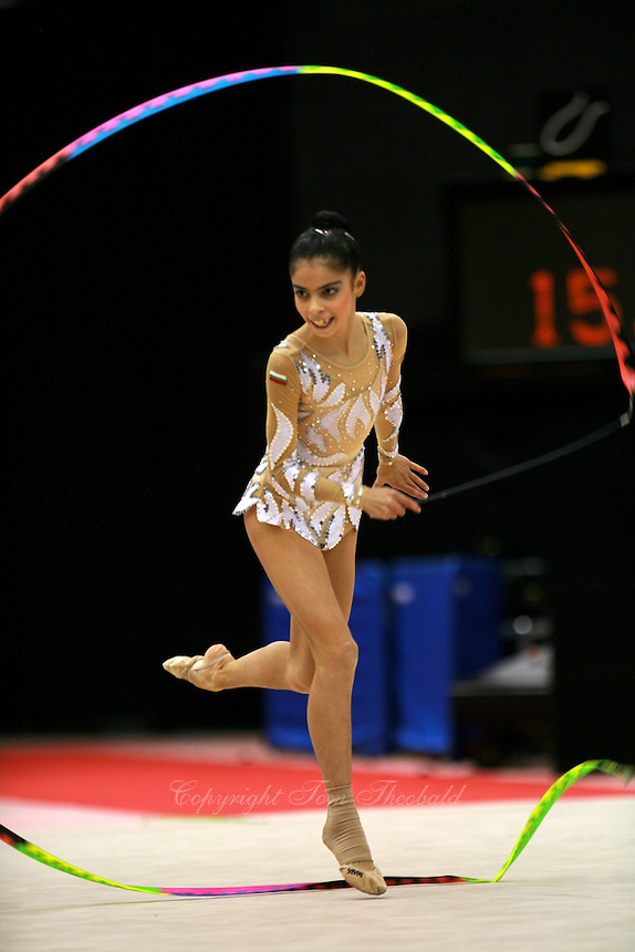 Filipa Siderova of Bulgaria waves circles with ribbon at 2006 Aeon Cup Worldwide Club Championships in rhythmic gymnastics on November 16, 2006.  (Photo: To colleagues (if they reading). With 5D, barely was AF staying with this image. Like Simona, Natalya...Filipa is quick.)<br />