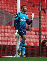 LIVERPOOL, ENGLAND - Easter Monday, April 1, 2013: Tottenham Hotspur's goalkeeper Lawrence Vigouroux in action against Liverpool during the Under 21 FA Premier League match at Anfield. (Pic by David Rawcliffe/Propaganda)