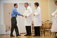 White Coat Ceremony, class of 2015. James McAvoy, William Jeffries, Ph.D., Beth Kirkpatrick.