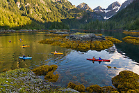 Kayaking in the calm waters of Prince William Sound, Alaska.