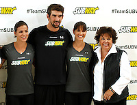 "Olympic medalist Michael Phelps,his sisters Hilary and Whitney and his mother Hilary attend the ""Official Training Restaurant of the Phelps Family"" and event organized by the food company ""Subway"" in New York, United States. 15/10/2012. Photo by Kena Betancur/VIEWpress."