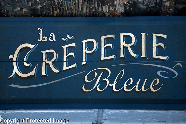 Creperie Bleue Sign in Rouen, Normandy, France