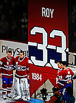 22 November 2008: The Montreal Canadiens, celebrating their 100th season, honor goaltender Patrick Roy seen here with current members of the Canadiens prior to hoisting his banner to the rafters. The Canadiens retired his jersey (Number 33) during pre-game ceremonies prior to a game against the Boston Bruins at the Bell Centre in Montreal, Quebec, Canada. Roy, played on two Stanley Cup teams with Montreal (1986 and 1993), and appeared in 114 playoff games for the Habs, the most of any goalie in Canadiens history. ***** Editorial Use Only *****..Mandatory Photo Credit: Ed Wolfstein Photo *** Editorial Sales through Icon Sports Media *** www.iconsportsmedia.com