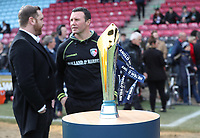 Leicester Tigers Head Coach Aaron Mauger behind the Anglo Welsh Cup<br /> <br /> Photographer Rachel Holborn/CameraSport<br /> <br /> Anglo-Welsh Cup Final - Exeter Chiefs v Leicester Tigers - Sunday 19th March 2017 - The Stoop - London<br /> <br /> World Copyright &copy; 2017 CameraSport. All rights reserved. 43 Linden Ave. Countesthorpe. Leicester. England. LE8 5PG - Tel: +44 (0) 116 277 4147 - admin@camerasport.com - www.camerasport.com