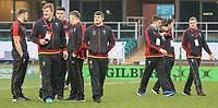 Wales U20's players inspect the pitch<br /> <br /> Photographer Alex Dodd/CameraSport<br /> <br /> RBS Six Nations U20 Championship Round 4 - Wales U20s v Ireland U20s - Saturday 11th March 2017 - Parc Eirias, Colwyn Bay, North Wales<br /> <br /> World Copyright &copy; 2017 CameraSport. All rights reserved. 43 Linden Ave. Countesthorpe. Leicester. England. LE8 5PG - Tel: +44 (0) 116 277 4147 - admin@camerasport.com - www.camerasport.com