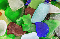 Close-up assortment of beach glass.