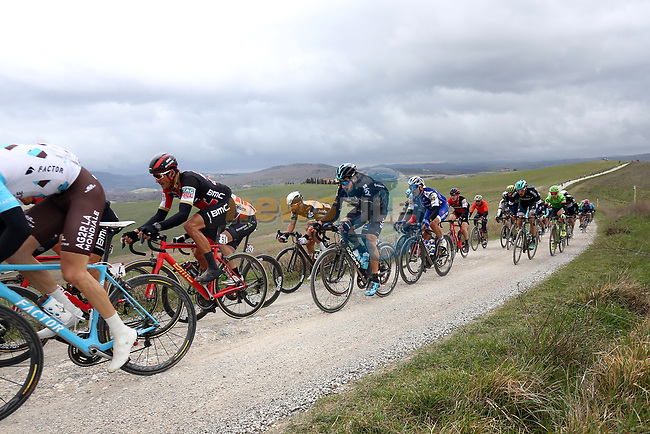 Riders including Greg Van Avermaet (BEL) BMC Racing Team on the white gravel raods of Tuscany during the 2017 Strade Bianche running 175km from Siena to Siena, Tuscany, Italy 4th March 2017.<br /> Picture: Heinz &amp; Sabine Zwicky/Radsport.ch | Newsfile<br /> <br /> <br /> All photos usage must carry mandatory copyright credit (&copy; Newsfile | Heinz &amp; Sabine Zwicky/Radsport.ch)