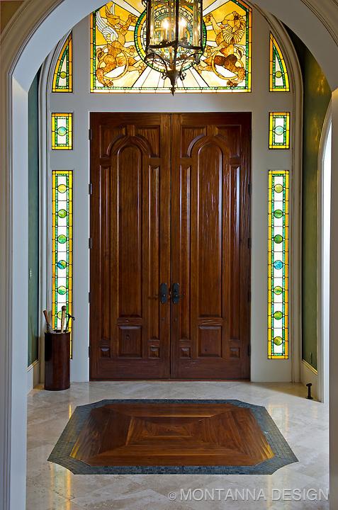 Custom Stained Glass Entry Design Montanna Associates Interior Design