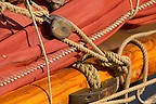 Close up of sail and mast from Seine Fishing boat -  Honfleur harbour, Normandy, France.