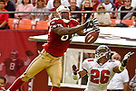 San Francisco 49ers wide receiver Terrell Owens (81) misses end zone pass on Sunday, October 19, 2003, in San Francisco, California. The 49ers defeated the Buccaneers 24-7.