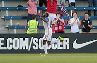 Kansas City, KS. - May 28, 2016: The U.S. Men's national team take a 1-0 lead over Bolivia in first half action from a goal by Gyasi Zardes during an international friendly tuneup match prior to the opening of the 2016 Copa America Centenario at Children's Mercy Park.