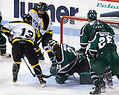 Adam Frank (WIT - 13), Tyler Ingerson (PSU - 29), Phil Moore (PSU - 4), Alex Cottle (PSU - 28) - The visiting Plymouth State University Panthers defeated the Wentworth Institute of Technology Leopards 2-1 on Monday, November 19, 2012, at Matthews Arena in Boston, Massachusetts.
