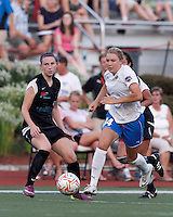 Boston Breakers forward Courtney Jones (84) on the attack. In a Women's Premier Soccer League Elite (WPSL) match, the Boston Breakers defeated New England Mutiny, 4-2, at Dilboy Stadium on June 20, 2012.