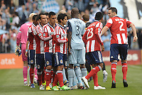 Chivas USA and Sporting KC players shake hands..Sporting Kansas City defeated Chivas USA 4-0 at Sporting Park, Kansas City, Kansas.