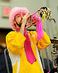 13 February 2011: Members of the University of Vermont Catamount Band entertain the crowd during a game against the Binghamton University Bearcats at Patrick Gymnasium in Burlington, Vermont. The Catamounts came from behind to defeat the Bearcats 60-51 in their America East matchup. The Cats took part in the National Pink Zone Breast Cancer Awareness Program by wearing special white jerseys with pink trim. The jerseys were auctioned off following the game with proceeds going to the Vermont Cancer Center. Mandatory Credit: Ed Wolfstein Photo