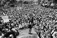"""26th Aug 1970. Feminists march in New York City on August 26, 1970 on the 50th anniversary of the passing of the Nineteenth Amendment which granted American women full suffrage. The National Organization for Women (NOW) called upon women nationwide to """"strike for equality"""" on that day."""