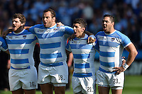 Argentina players sing their national anthem prior to the match. Rugby World Cup Pool C match between Argentina and Tonga on October 4, 2015 at Leicester City Stadium in Leicester, England. Photo by: Patrick Khachfe / Onside Images