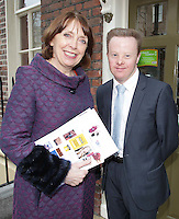 NO FEE PHOTOS - 21/03/14 Roisin Shortall TD  and David Clarke at World Down Syndrome Day ,The National Advisory Council who are adults with Down syndrome are going to be delivering their manifesto to a bunch of TD's and MEPs and handing out fliers etc.Pictured at Buswells Hotel,Co Dublin this afternoon… Pic Collins Photos
