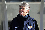 27 November 2010: U.S. head coach Pia Sundhage (SWE). The United States Women's National Team defeated the Italy Women's National Team 1-0 in the second leg of their 2011 FIFA Women's World Cup Qualifier playoff at Toyota Park in Bridgeview, Illinois. The U.S. won the series 2-0 on aggregate goals to advance.
