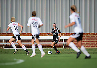 Emily Kittleson (6) of the Virginia Beach Piranhas looks to cross the ball into the box during the game at the University of Mary Washington Battleground Stadium in Fredericksburg, VA.   The Virginia Beach Piranhas defeated the Fredericksburg Impact, 2-0, in a weather shortened game.