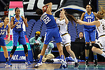 04 March 2016: Duke's Oderah Chidom (22) and Notre Dame's Marina Mabrey (3) challenge for the ball. The Duke University Blue Devils played the University of University of Notre Dame Fighting Irish at the Greensboro Coliseum in Greensboro, North Carolina in an Atlantic Coast Conference Women's Basketball Tournament Quarterfinal and a 2015-16 NCAA Division I Women's Basketball game. Notre Dame won the game 83-54.