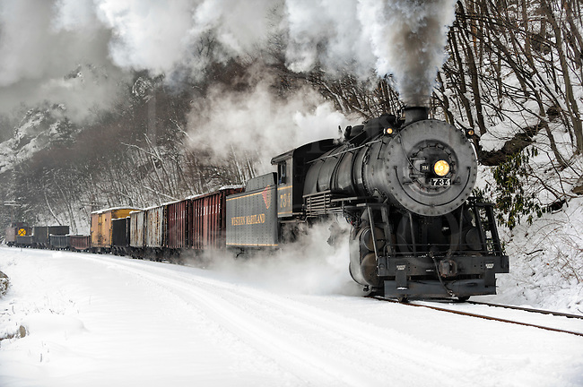 A vintage steam locomotive pulling a freight train and billowing smoke into the cold winter air just outside of Cumberland, Maryland, on the Western Maryland Scenic Railroad.
