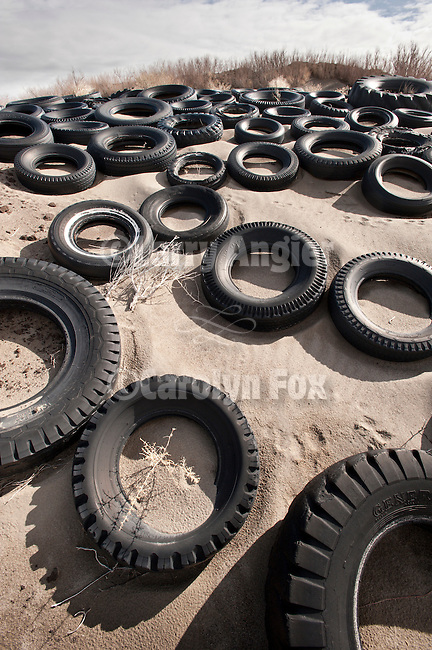 Tire dune, Nevada's Big Empty..Used tires used to help stabilize drifting sand along the UP railroad