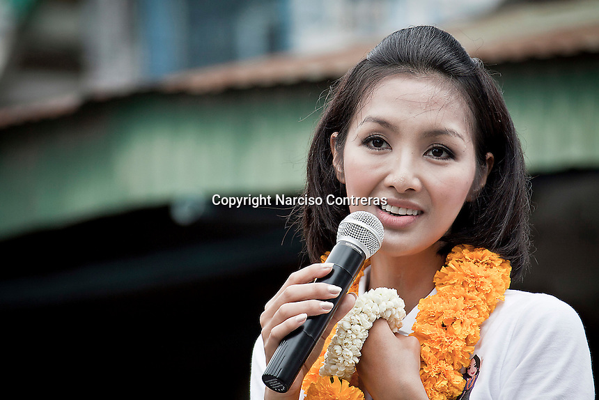 """YOLLANDA """"NOK"""" SUANYOT speechs to the voters at the town streets as she runs the last day of the official political campaign for elections in northern Nan province, Thailand. Known formerly as a beauty queen, is running today a political campaign for the local rule of Nan city. 30-year-old Yollada Suanyot, who was born a male, has become the first transgender to register as an election candidate. The upcoming elections will be held on May 27th in 24 constituencies in 15 districts. In accord with the Thai media this is the first time in Thailand that a transgender is taking part in a provincial election."""