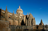 Rooftop view, Cathedral, Salamanca, Spain, pictured on December 19, 2010 in the winter afternoon sunshine. The Torre de Gallo and Cupola are seen with the buttresses supporting the roof. Salamanca, Spain's most important University city,  has two adjoining Cathedrals, Old and New. The old Romanesque Cathedral was begun in the 12th century, and the new in the 16th century. Its style was designed to be Gothic rather than Renaissance in keeping with its older neighbour, but building continued over several centuries and a Baroque cupola was added in the 18th century. Restoration was necessary after the great Lisbon earthquake, 1755. Picture by Manuel Cohen